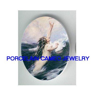 VICTORIAN MERMAID PRAYING  * UNSET CAMEO PORCELAIN CAB