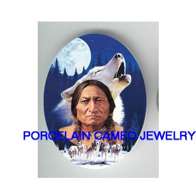 INDIAN CHIEF HOWLING WOLF PACK MOON * UNSET CAMEO PORCELAIN CAB