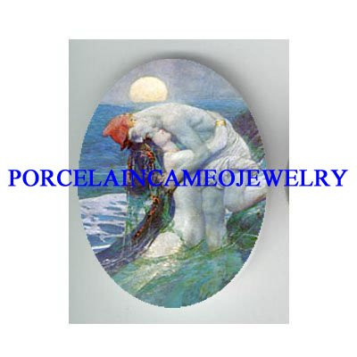MERMAID PRINCESS CUDDLING PRINCE CAMEO PORCELAIN CAB