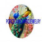 2 PEACOCK BIRD CHERRY BLOSSOMS CAMEO PORCELAIN CAB