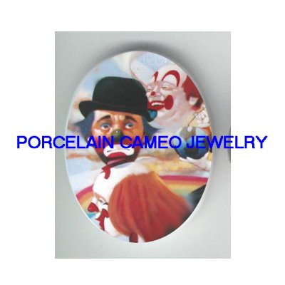 3 CIRCUS CLOWN FACE RAINBOW * UNSET CAMEO PORCELAIN CAB