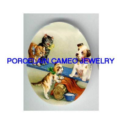 3 VICTORIAN KITTY CAT JACK RUSSELL DOG SEESAW UNSET PORCELAIN CAMEO CAB