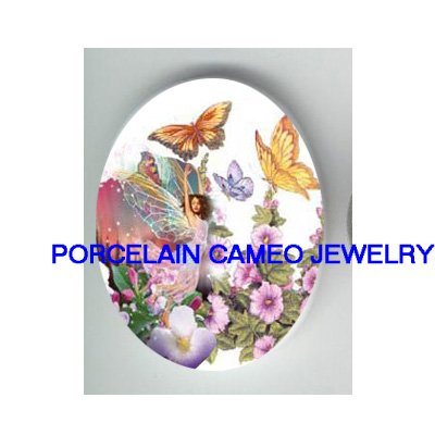 BUTTERFLY FAIRY WITH PURPLE FLOWER* UNSET CAMEO PORCELAIN CAB