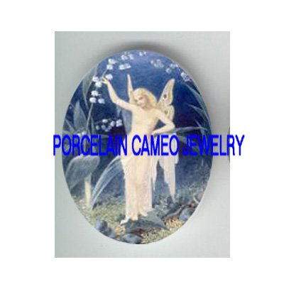 VICTORIAN LILY OF THE VALLEY FAIRY * UNSET CAMEO PORCELAIN CAB