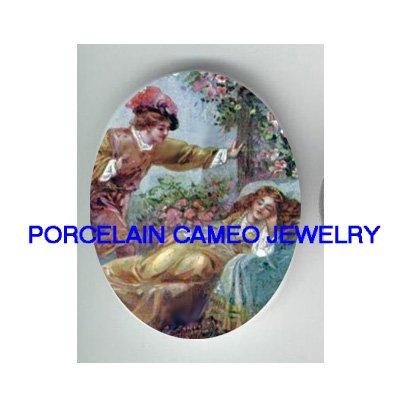 VICTORIAN SLEEPING BEAUTY ROSE PRINCE  * UNSET CAMEO PORCELAIN CAB