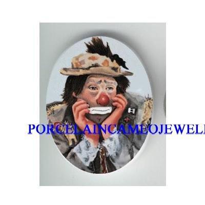 SAD FACE CIRCUS CLOWN * UNSET CAMEO PORCELAIN CAB