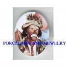 WORRIED FACE CIRCUS CLOWN * UNSET CAMEO PORCELAIN CAB