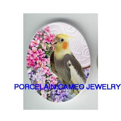 COCKATOO BIRD WITH AFRICAN VIOLET* UNSET CAMEO PORCELAIN CAB