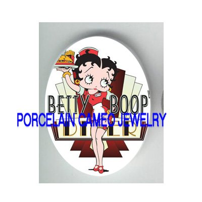 BETTY BOOP WAITRESS UNSET CAMEO PORCELAIN CAB 30X40MM