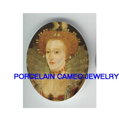 JEWELED QUEEN ELIZABETH * UNSET CAMEO PORCELAIN CAB
