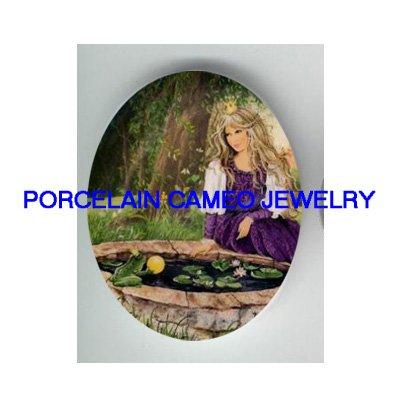 FROG PRINCE SHOW CRYSTAL BALL TO PRINCESS * UNSET CAMEO PORCELAIN CAB