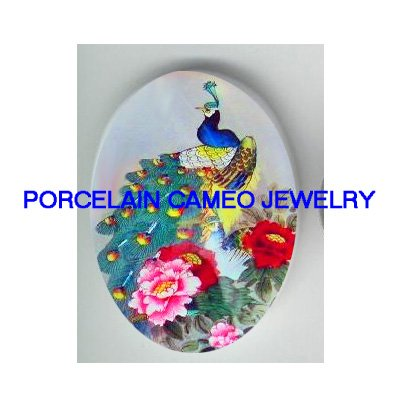 PEACOCK BIRD CHINESE PEONY* UNSET CAMEO PORCELAIN CAB