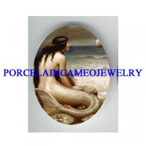 VICTORIAN MERMAID WAITING PRINCE CAMEO PORCELAIN CAB 18X25