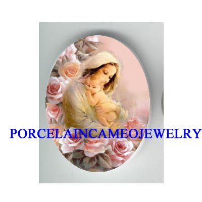 MOTHER CUDDLING BABY PINK ROSE* UNSET CAMEO PORCELAIN CAB