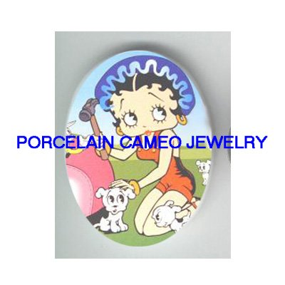 BETTY BOOP FIX THE CAR WITH DOG* UNSET CAMEO PORCELAIN CAB