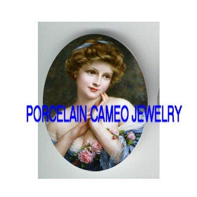VICTORIAN LADY BLUE LACE DRESS ROSE * UNSET CAMEO PORCELAIN CAB