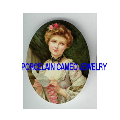 VICTORIAN ROSE LADY READ LOVE LETTER * UNSET CAMEO PORCELAIN CAB
