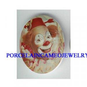 PINK SMILING CIRCUS CLOWN * UNSET CAMEO PORCELAIN CAB