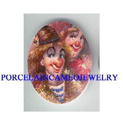 2 CIRCUS CLOWN FACE* UNSET CAMEO PORCELAIN CAB