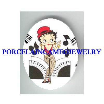 BETTY BOOP PIANO MUSIC NOTE* UNSET CAMEO PORCELAIN CAB