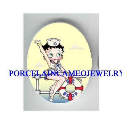 BETTY BOOP NAVY SAILOR* UNSET CAMEO PORCELAIN CAB