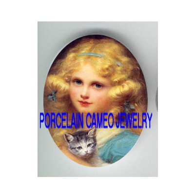 VICTORIAN GIRL HOLDING KITTY CAT PORCELAIN CAMEO CAB