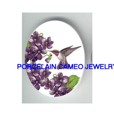 HUMMINGBIRD WITH VIOLET * UNSET PORCELAIN CAMEO CAB