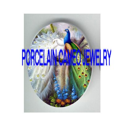 2 COUPLE BLUE WHITE PEACOCK FLOWER PORCELAIN CAMEO CAB