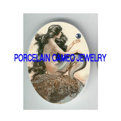 VICTORIAN MERMAID WITH PEARL * UNSET PORCELAIN CAMEO CAB