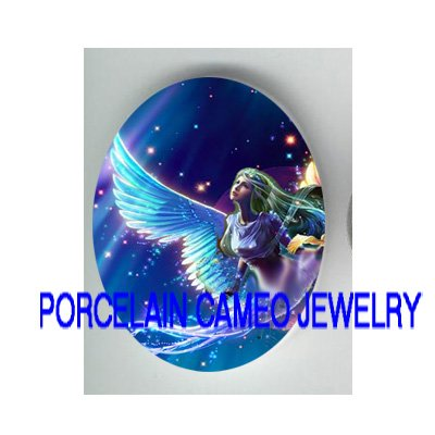 FLYING BLUE ANGEL * UNSET PORCELAIN CAMEO CAB 30X40MM