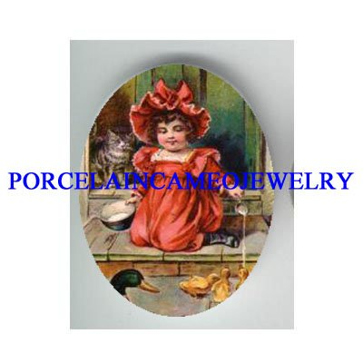 VICTORIAN POPPY GIRL KITTY CAT FEED DUCKS* UNSET PORCELAIN CAMEO CAB