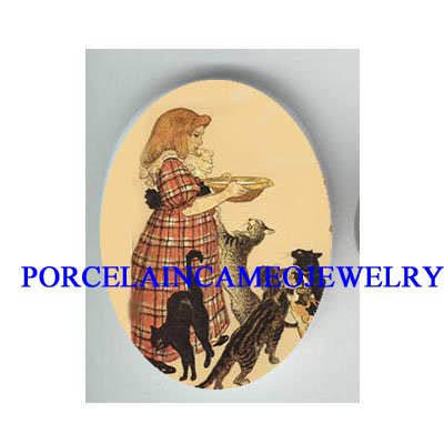 VICTORIAN GIRL FEEDING KITTY CAT * UNSET PORCELAIN CAMEO CAB