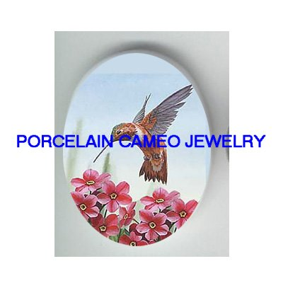 HUMMINGBIRD WITH PINK FLOWER PORCELAIN CAMEO CAB 30X40