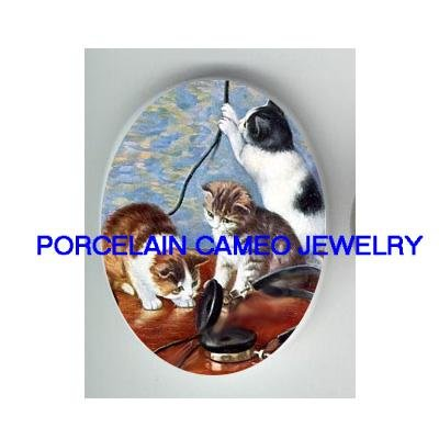 3 VICTORIAN KITTY CAT TRY TO MAKE OLD PHONE CALL* UNSET PORCELAIN CAMEO CAB