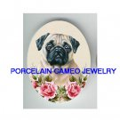 SWEET PUG DOG WITH ROSE* UNSET PORCELAIN CAMEO CAB