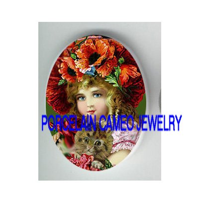 VICTORIAN POPPY GIRL HOLDING KITTY CAT* UNSET PORCELAIN CAMEO CAB