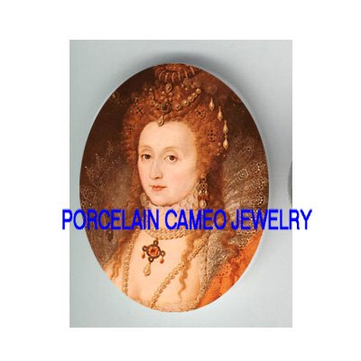 JEWELED QUEEN ELIZABETH UNSET CAMEO PORCELAIN CAB