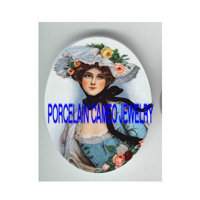 VICTORIAN ROSE HAT LADY* UNSET PORCELAIN CAMEO CAB