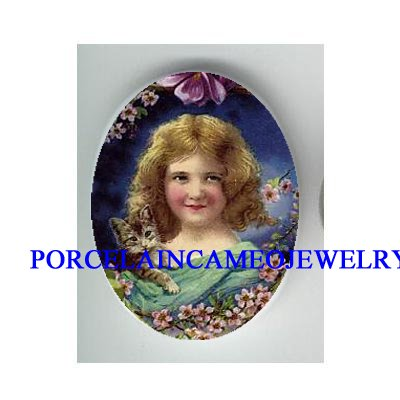 VICTORIAN APPLE BLOSSOMS GIRL HOLD KITTY CAT * UNSET PORCELAIN CAMEO CAB