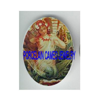 VICTORIAN SEASHELL FLOWER MERMAID * UNSET PORCELAIN CAMEO CAB