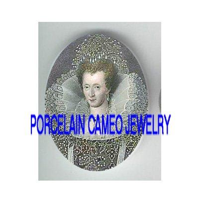 JEWELED QUEEN ELIZABETH UNSET CAMEO PORCELAIN CAB