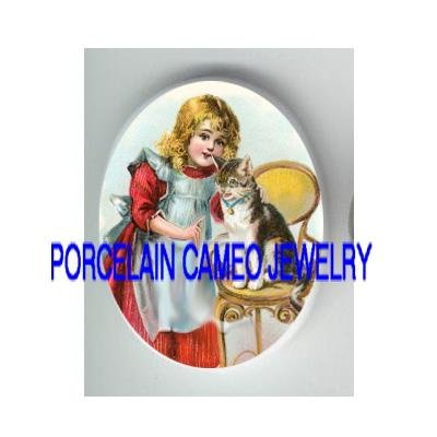 VICTORIAN GIRL TEACHING KITTY CAT CHAIR UNSET PORCELAIN CAMEO CAB