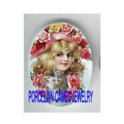 VICTORIAN ROSE GIRL WITH KITTY CAT  * UNSET PORCELAIN CAMEO CAB