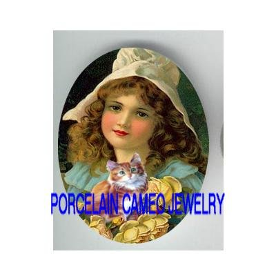 VICTORIAN YELLOW ROSE GIRL HOLDING KITTY CAT  * UNSET PORCELAIN CAMEO CAB