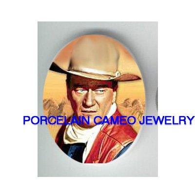 WESTERN THEME COWBOY JOHN WAYNE* UNSET PORCELAIN CAMEO CAB