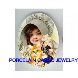 DAISY GIRL WITH 2 KITTY CAT* UNSET CAMEO PORCELAIN CAB