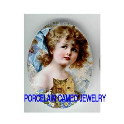 VICTORIAN  GIRL KITTY CAT FORGET ME NOT* UNSET CAMEO PORCELAIN CAB