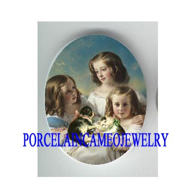 3 VICTORIAN  GIRL SISTERS WITH KITTY CAT * UNSET CAMEO PORCELAIN CAB