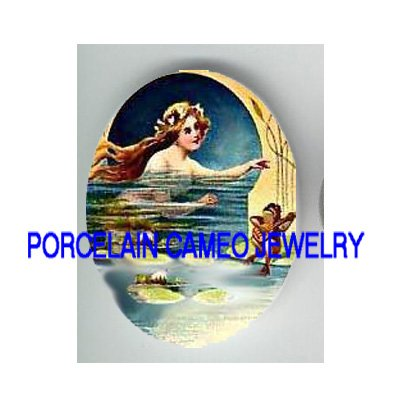 VICTORIAN MERMAID WITH SINGING FROG* UNSET PORCELAIN CAMEO CAB
