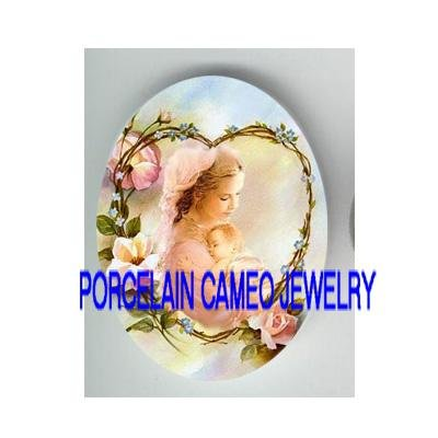 MOTHER HOLD BABY ROSE HEART* UNSET PORCELAIN CAMEO CAB